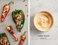 Quinoa stuffed peppers w/ Chipotle cashew cream