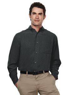 Polynosic/Polyester Mens Long Sleeve Mini Plaid Pattern Shirt.Tri mountain 878