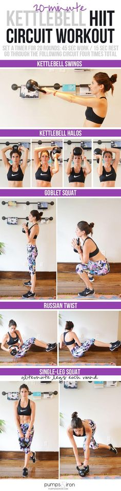 if you're thinking you can't do cardio workout with the kettlebell then you're wrong because with the kettlebell you can do most of the workout. In this pin, you can do hiit workout with the kettlebell in just 20 min. Full Body Workouts, Lower Ab Workouts, At Home Workouts, Killer Workouts, Hiit Workouts With Weights, Circuit Workouts, Fun Workouts, Fitness Motivation, Fitness Gym