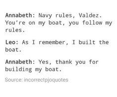 """Annabeth talks to Leo; Leo """"talks"""" to Annabeth Percy Jackson Head Canon, Percy Jackson Quotes, Percy Jackson Fan Art, Percy Jackson Books, Percy Jackson Fandom, Rick Riordan Series, Rick Riordan Books, Percy And Annabeth, Annabeth Chase"""