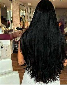 Long dark thick hair