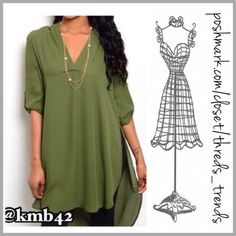 Olive High Low Top Popular olive color in a high low top. Featuring V neck shirt dress style. Pair with leggings  or Skinnies. Made of a poly blend. Size S, M Threads & Trends Tops Tunics