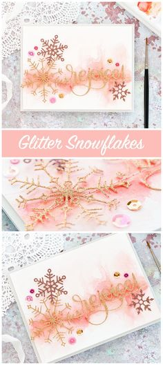 Glitter Snowflakes two ways - two handmade Holiday cards using new dies from Simon Says Stamp's DieCember release. Christmas Cards 2017, Stamped Christmas Cards, Christmas Scrapbook, Xmas Cards, Christmas Greetings, Holiday Cards, Snowflake Cards, Christmas Snowflakes, Noel Christmas