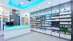 Glass shelves retail pharmacy interior… why custom design Mobile Shop Design, Glass Shelves In Bathroom, Pharmacy Store, Deco Restaurant, Showroom Interior Design, Design Exterior, Store Layout, Counter Design, Shop Interiors
