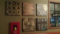 Paintings in #entry #stonefiregrill #art #paintings #mixedmedia #metallic www.celestekorthasestudio.com