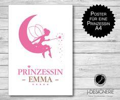 A4 KUNSTDRUCK mit NAMEN ♥ PRINZESSIN ♥  von j-designerie - FEINE DRUCKSACHEN auf DaWanda.com