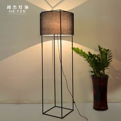 Nordic IKEA simple American vintage wrought iron floor lamp stand four square living room floor lamp bedroom lamp study _ {categoryName} - AliExpress Mobile Study Lamps, House Lamp, Tall Lamps, Floor Standing Lamps, Modern Floor Lamps, Balcony Design, Wood Lamps, Bedroom Lamps, Lamp Design
