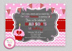 Girls 1st  Birthday Invitation  Valentines by The Trendy Butterfly  #Valentinesday #cupcake #birthday #invitation #chevron #chalkboard #girlsbirthday