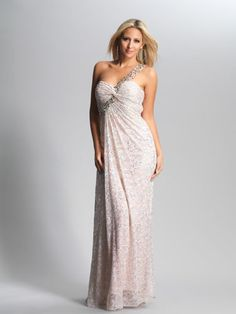 Nude, Lace, One-Shoulder Gown