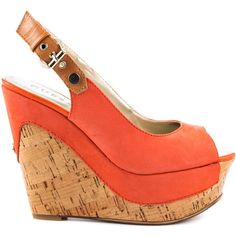 Guess Footwear Women's Dagmar - Orange Leather ($110) ❤ liked on Polyvore featuring shoes, sandals, wedges, orange, wedges shoes, guess sandals, peep toe sandals, leather wedge sandals and leather sandals