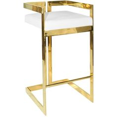 Worlds Away Hearst White & Brass Bar Stool ($1,050) ❤ liked on Polyvore featuring home, furniture, stools, barstools, white bar stools, white counter height bar stools, standing stool, brass stool and modern contemporary furniture