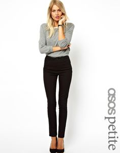 ASOS PETITE High Waist Trousers in Cotton Twill
