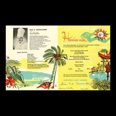 1957 in-flight menu, inside page  in-flight menu from United Airlines- Mainland to Hawaii flights