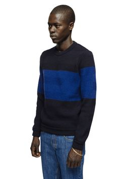 A Kind of Guise Rascht Crewknit sweater  https://akindofguise.com/product/rascht-crewknit-blocked-blue/