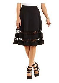 Lace-Trim Full Midi Skirt
