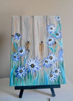 Painted scene of a wooden fence with pretty flowers. Painted on canvas with acrylic by Candi Sue. Credit to and permission by: Painting with Jane (her Acrylic Painting Flowers, Tole Painting, Painting On Wood, Flower Canvas Paintings, Acrylic Paint On Wood, Daisy Painting, Acrylic Paintings, Arte Pallet, Pallet Art