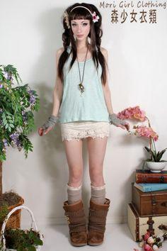 Mori girl Clothing / Morning sky blue twist tank
