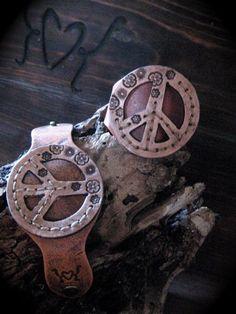 peace sign leather cuff