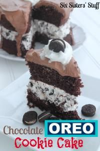 Six Sisters Chocolate Oreo Cookie Cake Recipe. Rich and moist and loaded with oreos! #sixsistersstuff