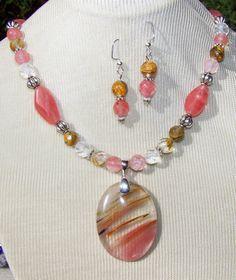 CHERRY TIGER QUARTZ NECKLACE EARRING ~SET~ pink brown gold handmade