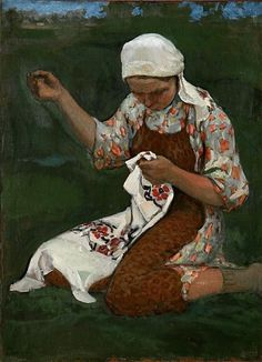 lawrenceleemagnuson:  Sergie Vinogradov (Russia 1869-1938)Woman Embroidering (n.d.)