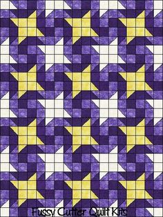 Starry Night Purple Fabric Easy to Make Pre-Cut Quilt Blocks Top Kit