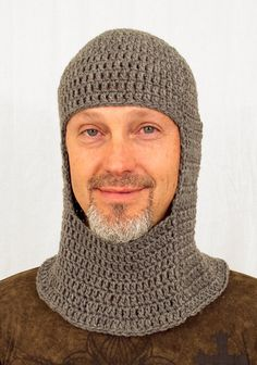 Medieval Knight Coif Hat, Crochet Grey Chain Mail, send size choice baby - adult. $40.00, via Etsy.