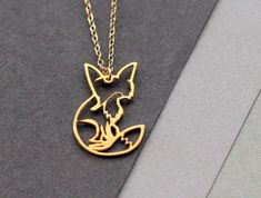 fox necklace fox jewelry fox pendant golden fox by WildThingStudio, $58.00