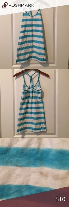 Aqua blue/white cover up Aqua blue & white swim cover up with braided twisted straps- small, light stain on back Abercrombie & Fitch Swim Coverups
