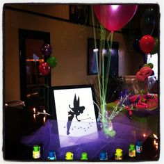 Tinkerbell party entrance. Tool, pixie dust and bubbles
