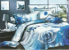 Tranquil 4 Piece Blue Rose and Butterfly Printed Bedding Sets (10489946)