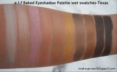 e.l.f Baked Eyeshadow Palette-Texas-Wet Swatches.