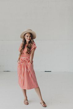 Lizzie Dress-Red Orange