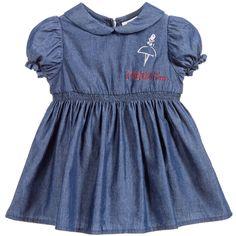 Blue Chambray Baby Dress & Knickers, Fendi, Girl