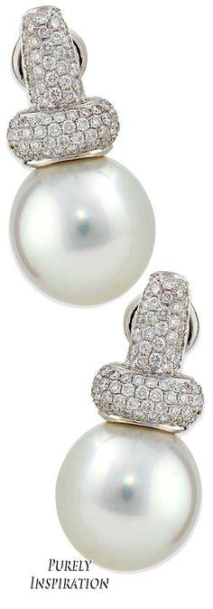 Belpearl Avenue Diamond & White Pearl Earrings | Purely Inspiration