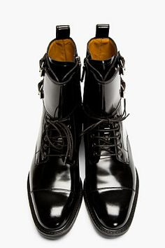 VALENTINO Black Patent Leather Buckled Stud Boots.
