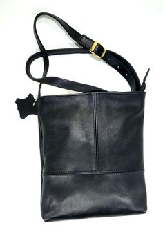 R 399 (Black) Genuine Leather Sling Bag Handcrafted in South Africa