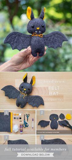 Felt Animal Patterns, Felt Crafts Patterns, Felt Crafts Diy, Stuffed Animal Patterns, Halloween Crafts, Holiday Crafts, Spirit Halloween, Felt Toys, Sock Toys
