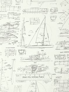 Antique ship blueprint i by vision studio ships and studio nautical boat ship blueprint fabric cotton by the yard windham sail away malvernweather Gallery