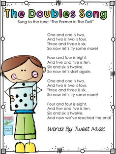 The Doubles Song by Tweet Resources. This is an IMAGE ONLY of a simple song you can sing with your students to help them remember their doubles.