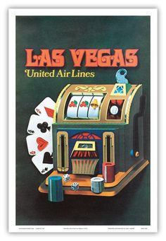 Las Vegas, Nevada - United Air Lines - Slot Machine  by Unknown c.1972 12 x 18 Vintage Digital Poster Art Print