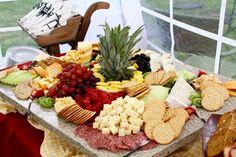 Fruit, cheese, cracker display