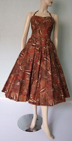 1950s Shaheen UndertheSea Print Cotton Halter by KittyGirlVintage, $395.00