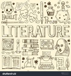 Big vector set of hand drawn doodle Literature icons, isolated on background.
