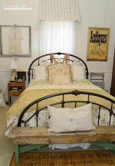 Fiona and Twig: Farmhouse Bedroom... Love the awning over the window