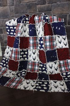 Rag Quilt Cabin Quilt Plaid Deer Throw Bear Quilt by RozonsRags