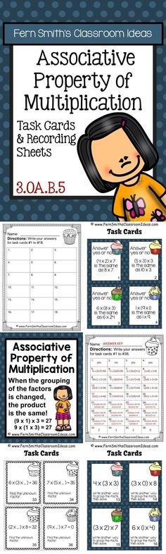 #Free Preview has Four #FREE Task Cards - Associative Property of Multiplication…