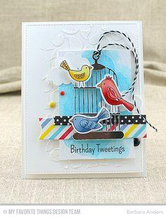 Tweet Friends, Tweet Friends Die-namics, Plaid Background Builder, Cheerful Cages Die-namics, Puffy Clouds Die-namics, Blueprints 24 Die-namics, Blueprints 27 Die-namics, Bold Paisley Stencil - Barbara Anders  #mftstamps
