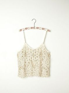 Beaded and Studded Battenburg Crop Cami
