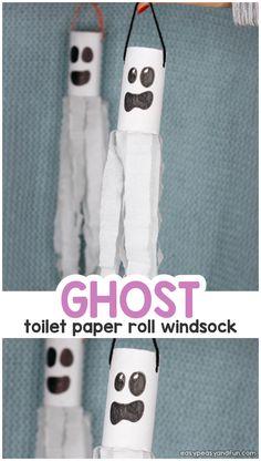 Ghost Windsock Toilet Paper Roll Craft Idea for Kids halloweenactivitiesforkids Halloween Arts And Crafts, Halloween Activities For Kids, Halloween Crafts For Kids, Fun Crafts For Kids, Toddler Crafts, Diy For Kids, Easy Crafts, Lion Craft, Fox Crafts